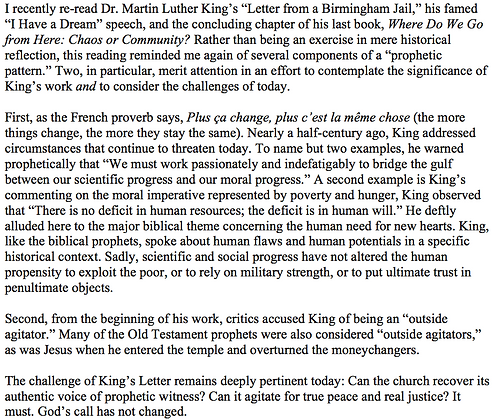 Prophets, Jesus, and Martin Luther King (Mark E. Biddle)
