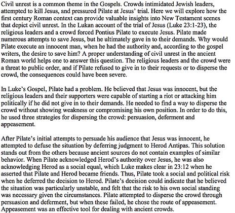 Civil Unrest in the Lukan Account of Jesus' Trial (Benjamin Browning)