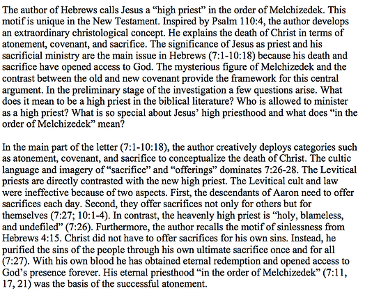 Jesus as High Priest in Hebrews (Elena Belenkaja)