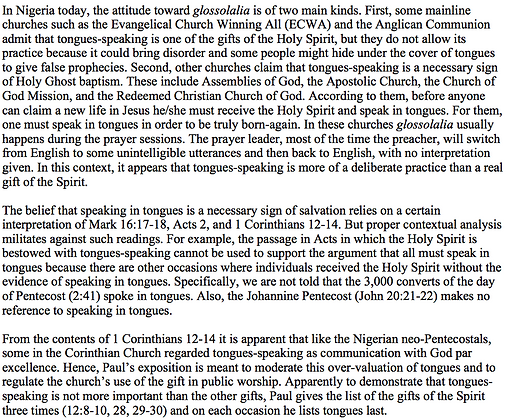 Speaking in Tongues in Nigerian Churches (S. Olusola Ademiluka)