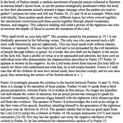 Death and Ascension of the Righteous in Psalms 14-16 (Joshua Stinson Honeycutt)