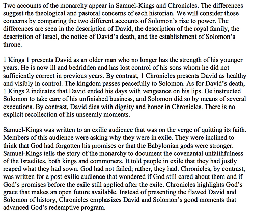 Solomon's Accession in Kings and Chronicles (Dean R. Ulrich)