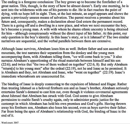 The Expulsion of Ishmael and the Binding of Isaac (Eliza Rosenberg)