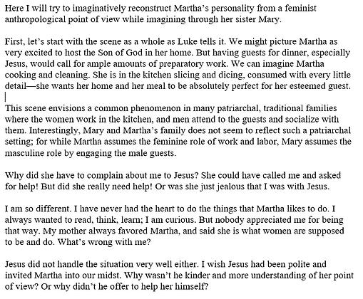 An Imaginative Reading of Mary and Martha in Luke 10 (Surekha Nelavala)