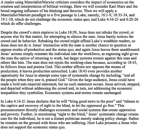 A Materialist/Marxist Reading of Luke (Jonathan Redding)