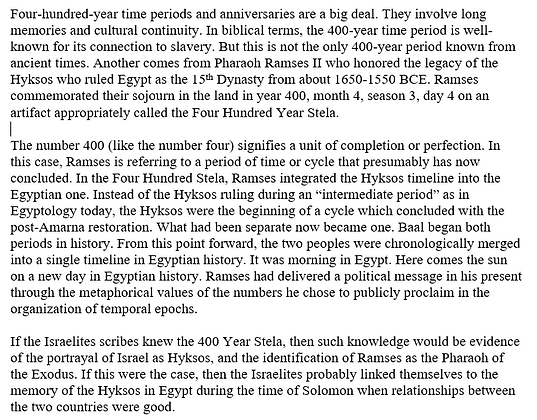 The Hyksos, Israel, and Four Hundred Year Periods (Peter Feinman)