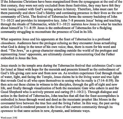 How Jesus Embodies Tabernacles in John 7:1–10:21 (Sherri Brown)