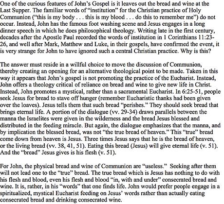 John's Eucharist Without Bread or Wine (Thomas W. Martin)