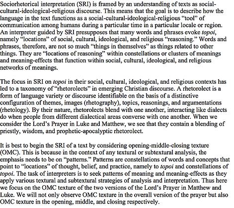 Sociorhetorical Interpretation of the Lord's Prayer (Vernon K. Robbins)