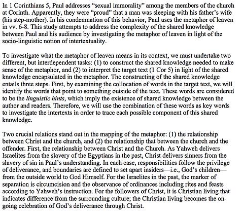 The Metaphor of Leaven in 1 Corinthians 5 (Esther Cen)