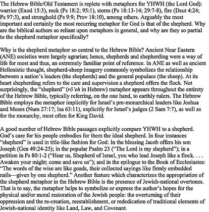 The Shepherd Metaphor in the Hebrew Bible (Wayne Baxter)