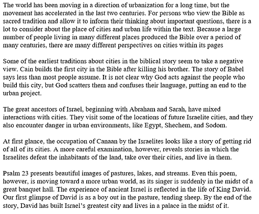 The Hebrew Bible as an Urban Text (Mark McEntire)