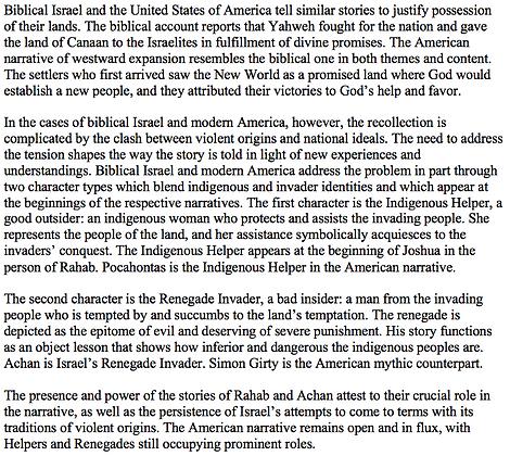 Israel, the United States, and Violent Origin Stories (L. Daniel Hawk)