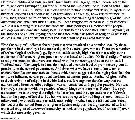 Religion in Israel and Religion in the Bible (Jeremiah W. Cataldo)