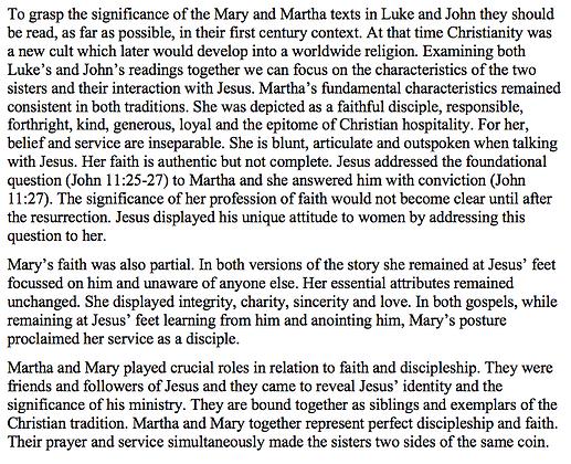 Mary and Martha in the Stories in Luke and John (Barbara Bergin)
