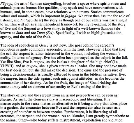 Eve, the Serpent, and a Samoan Love Story (Brian F. Kolia)
