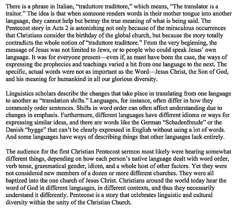 Pentecost and the Diversity of Christianity (Bobbi Dykema)
