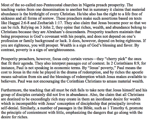 Problems with the Prosperity Gospel in Nigeria (S. Olusola Ademiluka)