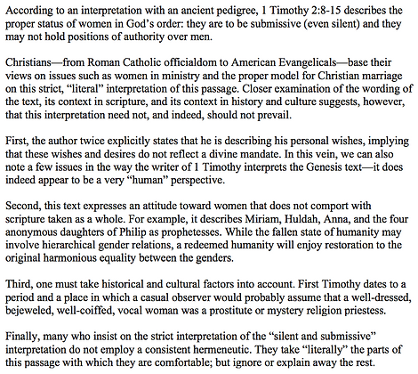 First Timothy 2 and the Status of Women (Mark E. Biddle)