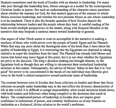 Misadventure and the Portrayal of Leadership in Exodus (Jacob R. Evers)