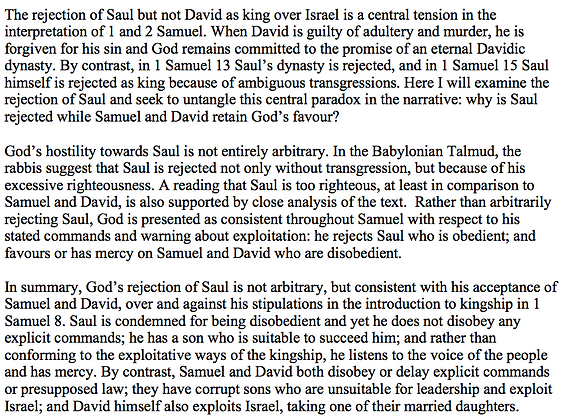 Saul's Rejection for Being Too Righteous (Rachelle Gilmour)