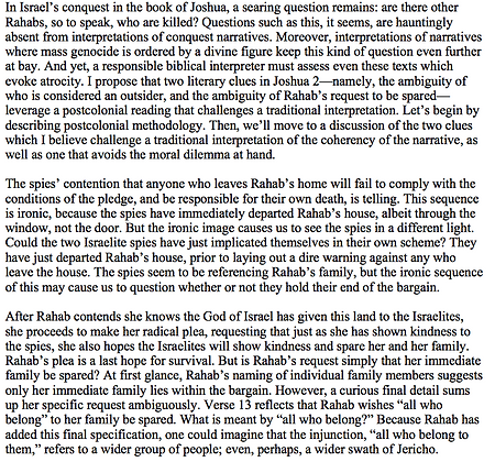 Reading Rahab Through a Postcolonial Lens (Mark A. Almquist-Murray)