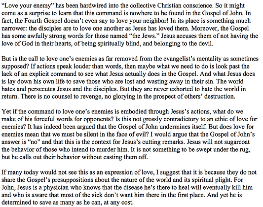 Love for Enemies in the Gospel of John (Nathan Thiel)