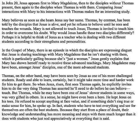 Comparing Thomas and Mary in John 20 (Bobbi Dykema)