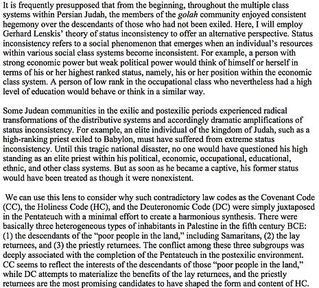 Status Inconsistency of Postexilic Judean Communities  (Johannes Unsok Ro)