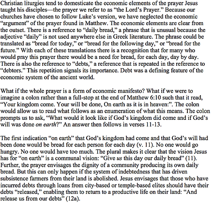The Lord's Prayer in Matthew as an Economic Manifesto (Gerald O. West)