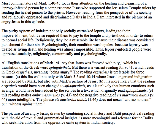 A Dalit Reading of Mark 1:40-45 (Sam P. Mathew)