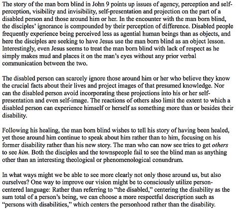 Disability and the Man Born Blind (Bobbi Dykema)