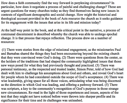 The Book of Acts as a Resource for the Contemporary Church (George Wieland)