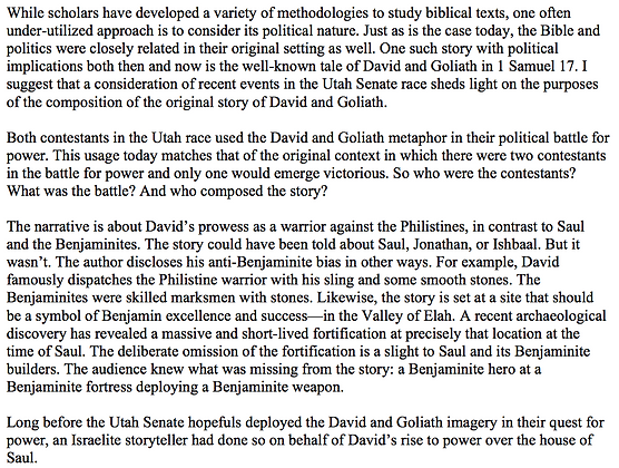 David and Goliath as Political Storytelling (Peter Feinman)