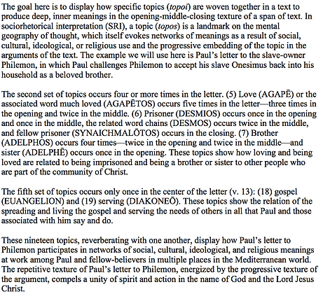 The Inner Texture of Paul's Letter to Philemon (Vernon K. Robbins)