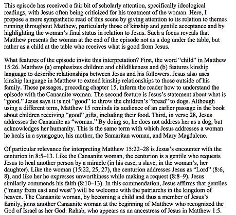 The Canaanite Woman as a Child, Not a Dog  (Kai Akagi)