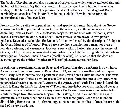 Humor in the Book of Revelation (Sarah Emanuel)