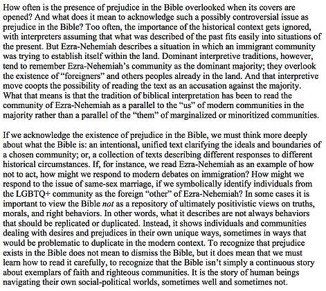 Prejudice in the Bible (Jeremiah W. Cataldo)
