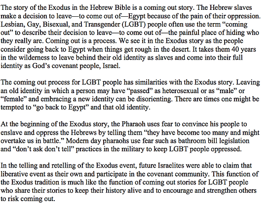 Exodus as a Coming Out Story (Mona West)