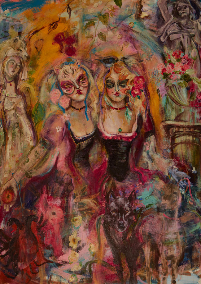 "Mystery Brides, 2020, oil on linen, 84""x 60"", 214 x 152 cm"