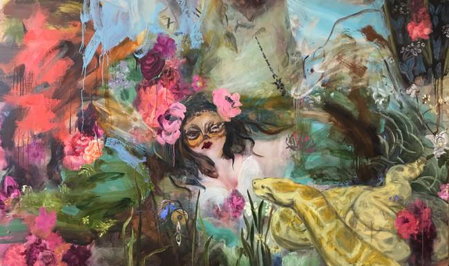 """Mona Lisa Mother Earth, 2008/2020, oil on linen, 60""""x96"""", 152 cm x 244 cm"""