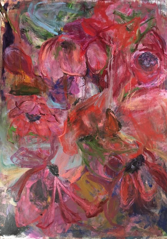 "Poppies 2, oil on linen, 2018, 60"" x 96"", 152cm x 244cm"