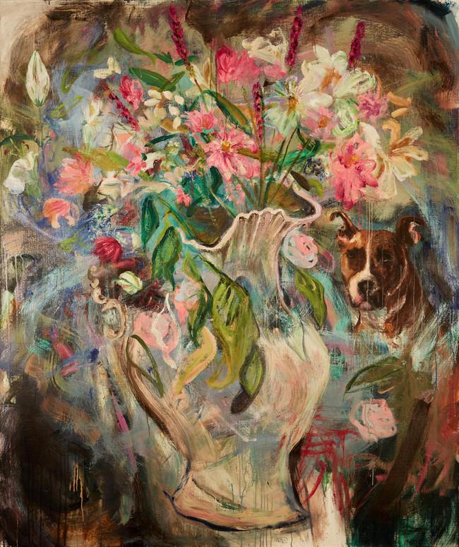 """Flowers for Vallie, 2019, oil on linen 60""""x 72"""", 152cm x 183cm"""