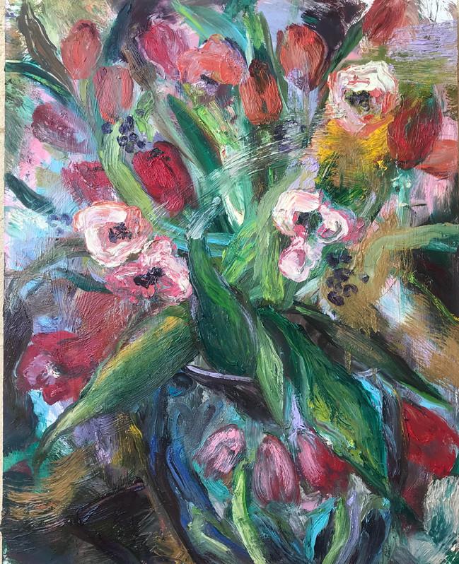 "Tulips, 2020, oil on board, 22""x18"", 56cm x 46cm"