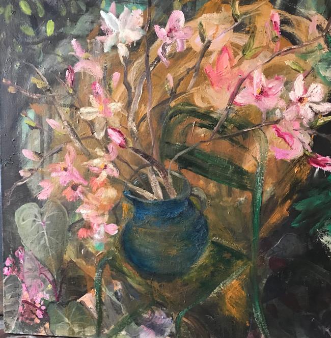 """Magnolias, 2019, oil on linen, 30""""x 30"""", 76cm x 76cm"""