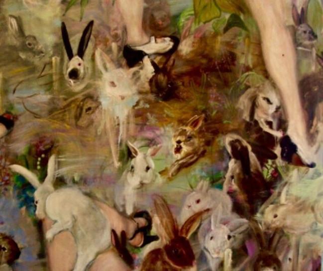 "More bunny Dreams, 2008, oil on linen, 48""x60"", 122cm x 152cm"