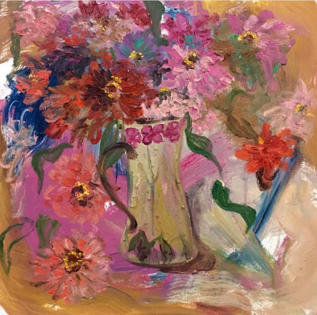 "Summer Flowers, 2019, oil on canvas, 22""x22"", 56cm x 56cm"