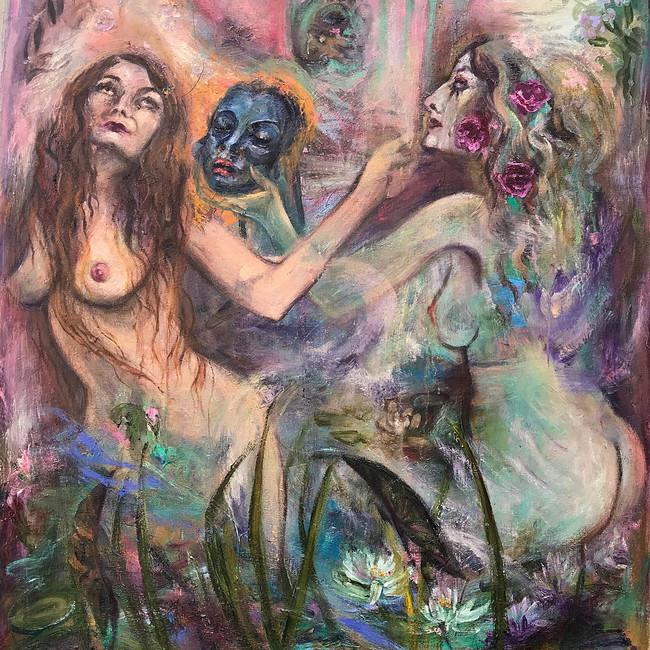 "Sisters Under the Skin, 2020, oil on linen, 44""x38"", 112cm x 97cm"