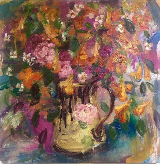 "Summer vase, 2019, oil on canvas, 22""x22"", 56cm x 56cm"