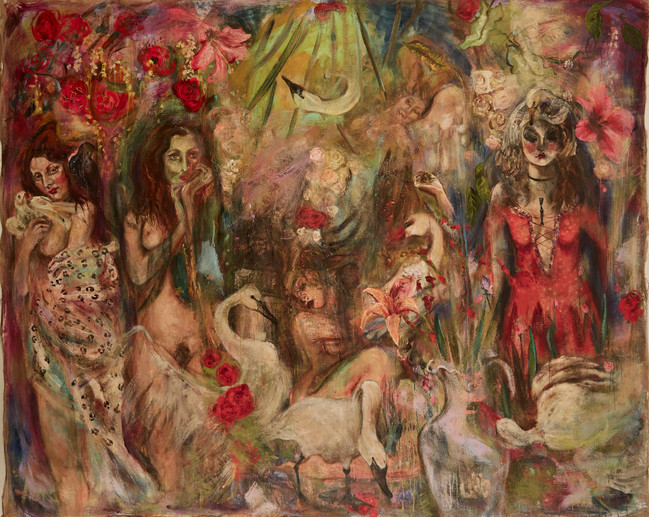 """Behind the Rose Curtain, 2019, oil on linen, 86""""x104"""", 218cm x 264cm"""